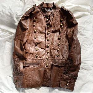 Zara Men's Vegan Leather Band Jacket Brown Small